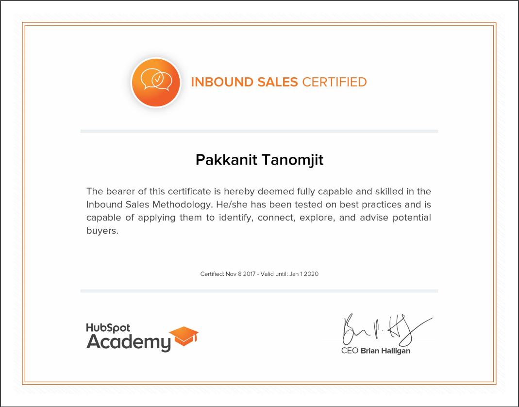 Hubspot Certification Inbound Sales